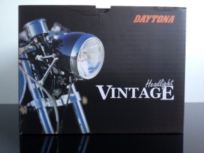 Vintage HEADLIGHT (DAYTONA, Japan) black, with speedo hole 60mm