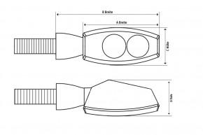 2 LED-BLINKER mit RÜCKLICHTFUNKTION von HIGHSIDER, schwarz, getöntes Glas, E-geprüft