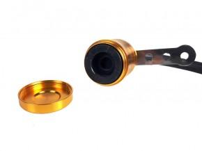 KUPPLUNGS- oder BREMSFLÜSSIGKEITS- BEHÄLTER aus Aluminium, goldfarben