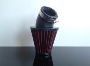 Sport-Luftfilter UNIVERSAL, ca. 40-45mm, 45° Anschluss, ROT