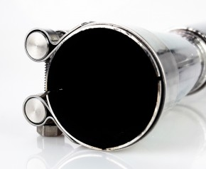 """2* SILENCER / exhaust system, 38mm, stainless steel, polished, """"e""""-marked, f. BMW R-models /5 /6 /7"""