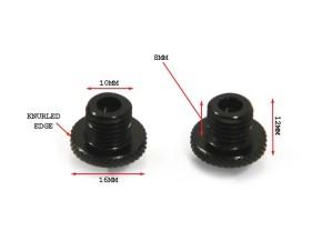 2 Spiegelgewinde-Verschlusschrauben schwarz M10x1,25mm