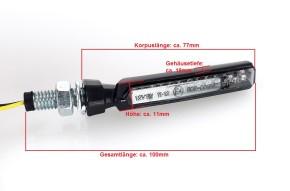 Schmale LED Blinker schwarz leicht getönte Gläser