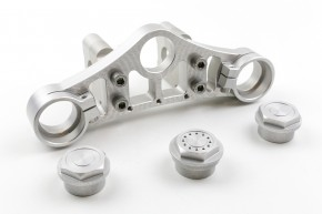 UPPER YOKE f. BMW 2-valves R80 / R100 with 38,5 mm fork diameter, alloy, silvery anodized, incl. certificate